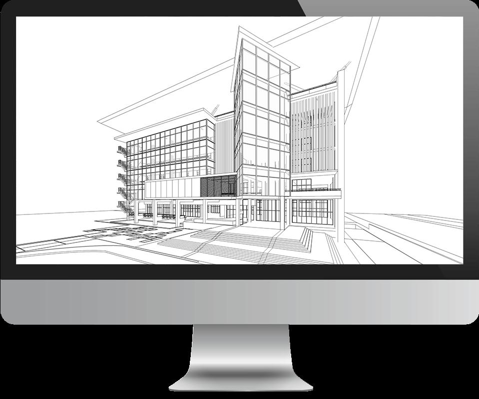 Computer mit Gebäudegrafik