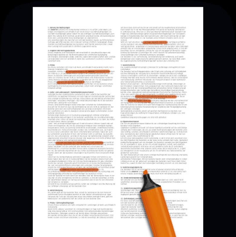 Vertrag und Textmarker