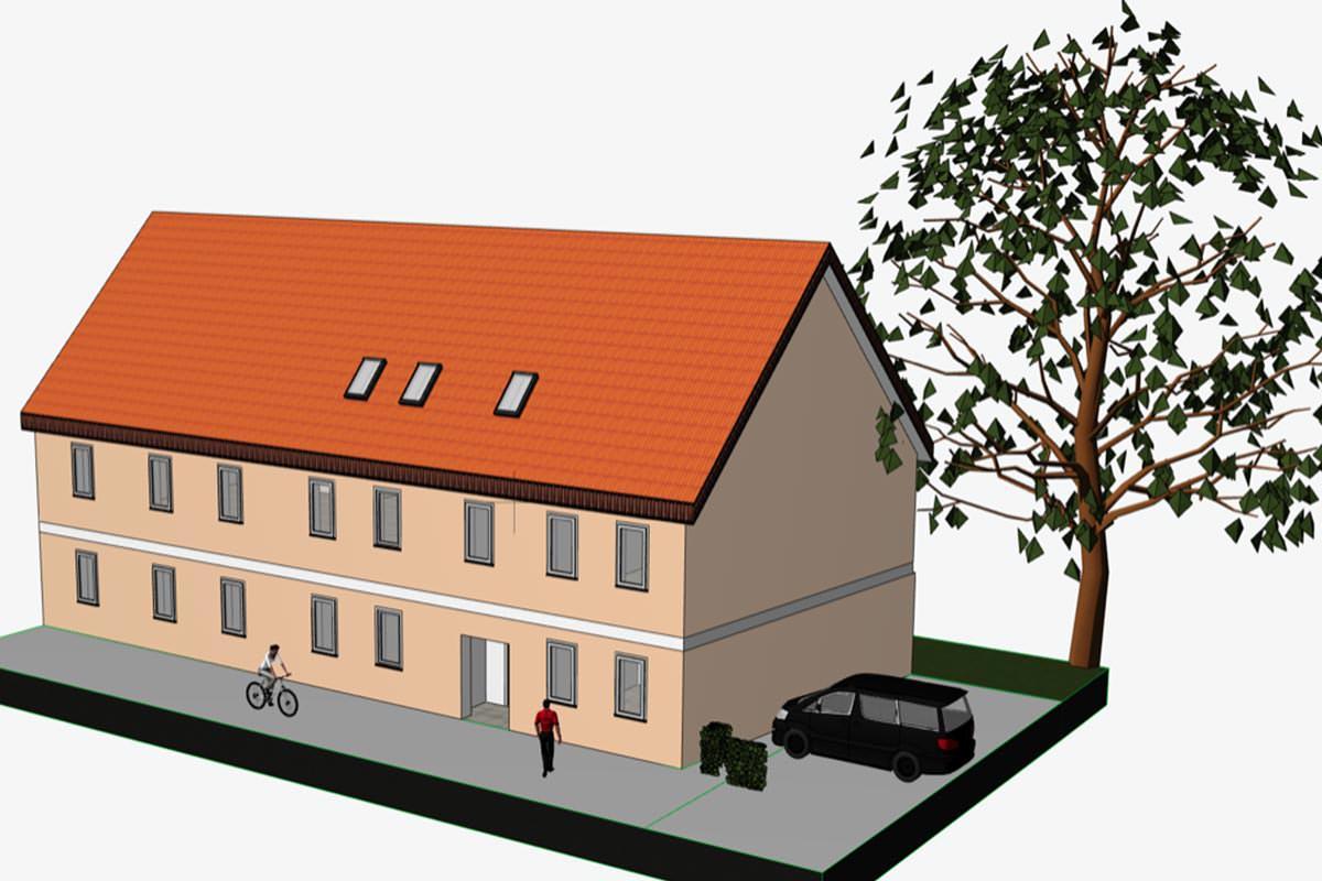 3D Ansicht Mehrfamilienhaus